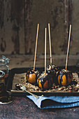 Halloween toffee apples with nuts