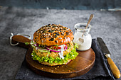 Vegan chickpeas burger with vegan ranch dressing