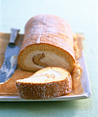 Lemon cake roll, sliced