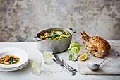 Brathähnchen und Gemüseeintopf