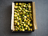 Baked Brussels sprouts with honey and fennel seeds