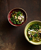 Oriental chicken soup with black chanterelle mushrooms, spinach and sugar loaf chicory