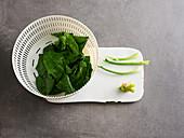 Spinach being prepared