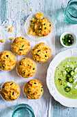 Corn and jalapeno muffins and jalapeno soup