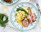Lamb Rack with potato salad and wild asparagus