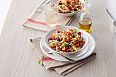 Gemelli with tuna, peppers and olives
