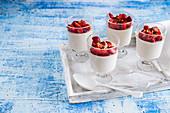 Italian panna cotta with strawberries