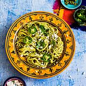 Spaghetti with jalapeno sauce