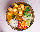 Indian tofu and potato curry with rice, vegetables and yogurt