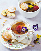 Earl grey creme brulee tea cups with mini sponge cakes
