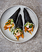 Temaki sushi with prawns and pumpkin
