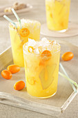 Orange juice with ginger and crushed ice