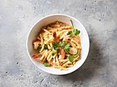 Quick coconut and prawn pasta