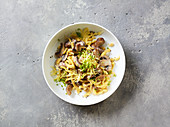 Fried Swabian egg noodles with chestnuts