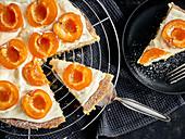 Apricot cake, sliced