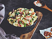 Pasta salad with bacon and lemon parmesan dressing