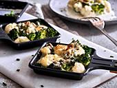 Cauliflower and broccoli raclette
