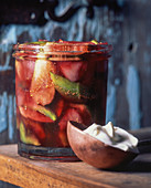Fig and pear jam in a glass