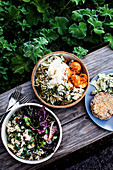 Salads and chickpea and sweet potato patty