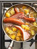 Grandma's turnip stew with sausages and bacon