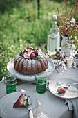 Lemon Coconut Bundt Cake with Strawberries on top