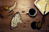 Breakfast with crispbread, banana, coffee and butter