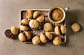 Baci di dama' homemade Italian hazelnut biscuits cookies with chocolate cream