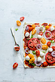 Quadratische Pizza mit Tomaten, Mozzarella und Petersilie