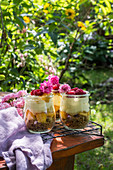 Summer dessert in the garden served in jars, prepared from crushed cookies, peaches, vanilla cream and fresh raspberries
