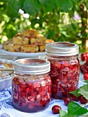 Cherry jam with flaked almonds
