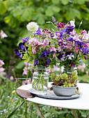 Üppige Sträuße aus verschiedenen Akeleien in Rosa, Violett und Lila