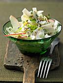 Apple kohlrabi salad with spring onions