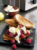 Sweet bruschetta with raspberries and honey
