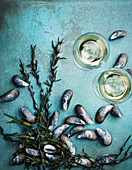 Mussels, algae and white wine glasses