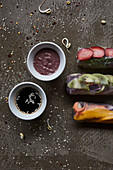 Rice paper rolls with fruit and dips