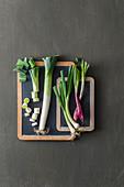 An arrangement of leek and spring onions