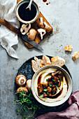 Celeriac purée with mushrooms