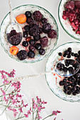 Berries and cherries in porcelain bowls