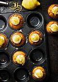 Lemon muffins with lemon cream and lemon zest