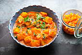 Potato curry with mango chutney (India)
