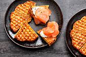 Potato fritter waffles with smoked salmon