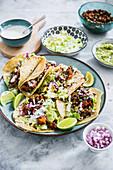 Lentil tacos with guacamole