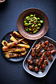 Christmas sides - Brussels sprouts, Bacon-wrapped butternut, Stuffed dates, Parsnips, Chipolatas