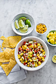Mexican sauce (pico de gallo) with pineapple and sweet corn