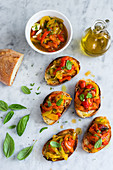 Roasted bell peppers crostini