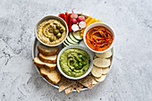 Roasted red bell peppers hummus, jalapeno, avocado and cilantro hummus, provenzal herbs and olives hummus
