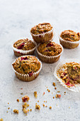 Oat vegan muffins with raspberries