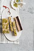 Frozen brownie with hazel nut icecream and pistachios