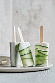 Frozen yogurt popsicles with mint and cucumber