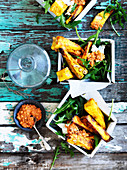 Pumpkin Polenta Wedges with Romesco